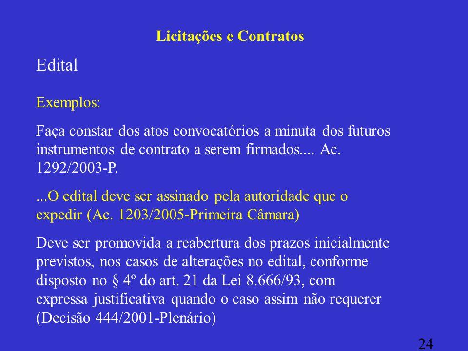 Licitações e Contratos Edital Exemplos: Faça constar dos atos convocatórios a minuta dos futuros instrumentos de contrato a serem firmados.... Ac. 129
