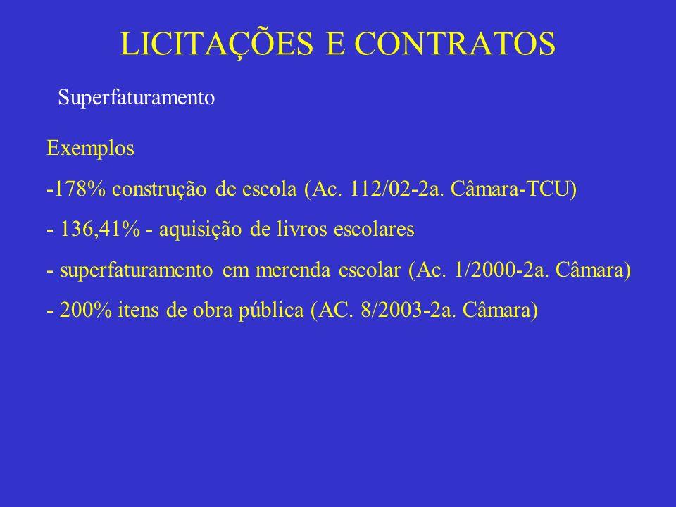 LICITAÇÕES E CONTRATOS Superfaturamento Exemplos -178% construção de escola (Ac. 112/02-2a. Câmara-TCU) - 136,41% - aquisição de livros escolares - su