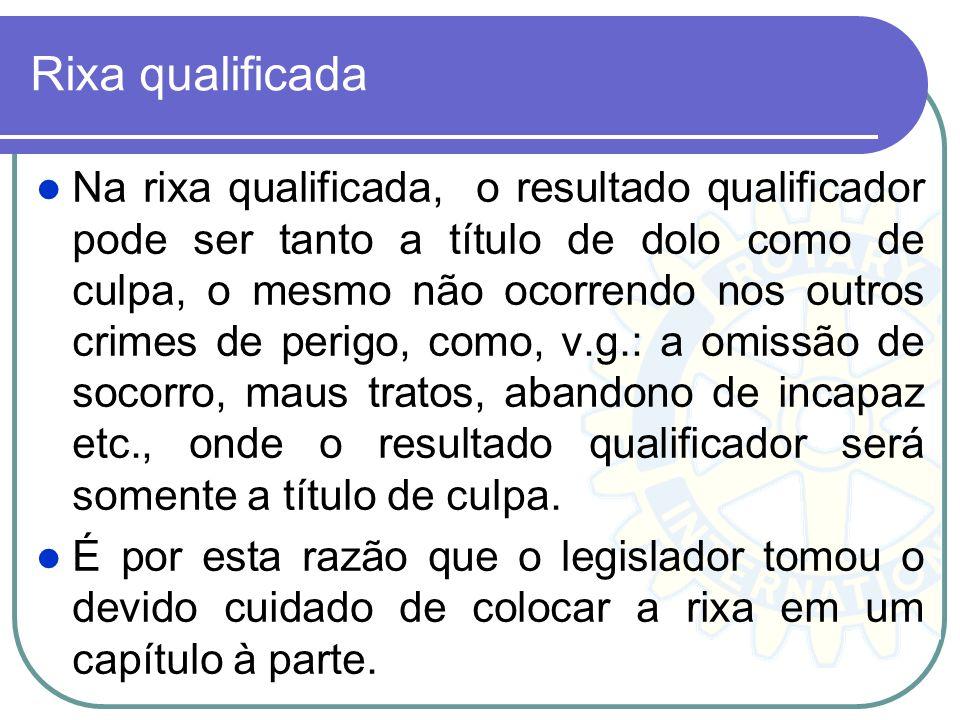 Rixa qualificada Na rixa qualificada, o resultado qualificador pode ser tanto a título de dolo como de culpa, o mesmo não ocorrendo nos outros crimes