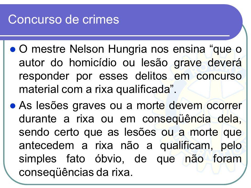Concurso de crimes O mestre Nelson Hungria nos ensina que o autor do homicídio ou lesão grave deverá responder por esses delitos em concurso material
