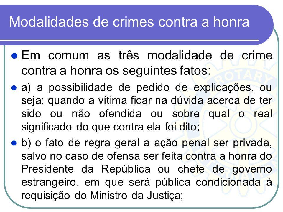 Modalidades de crimes contra a honra Em comum as três modalidade de crime contra a honra os seguintes fatos: a) a possibilidade de pedido de explicaçõ