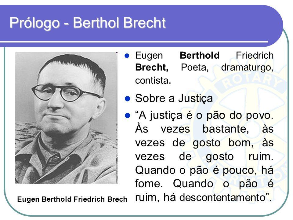 Prólogo - Berthol Brecht Eugen Berthold Friedrich Brecht, Poeta, dramaturgo, contista. Sobre a Justiça A justiça é o pão do povo. Às vezes bastante, à