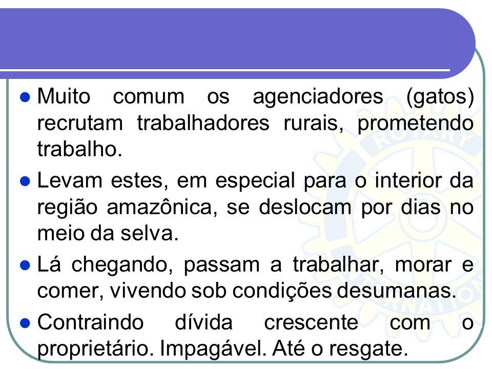 Muito comum os agenciadores (gatos) recrutam trabalhadores rurais, prometendo trabalho. Levam estes, em especial para o interior da região amazônica,