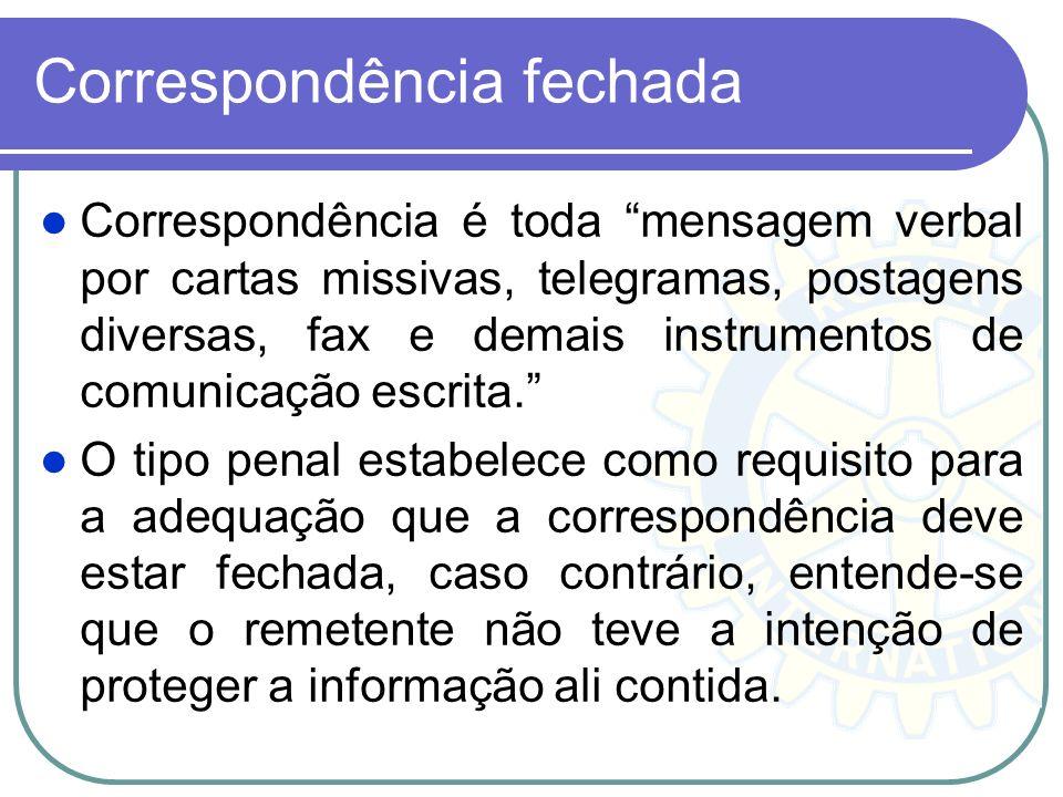 Correspondência fechada Correspondência é toda mensagem verbal por cartas missivas, telegramas, postagens diversas, fax e demais instrumentos de comun