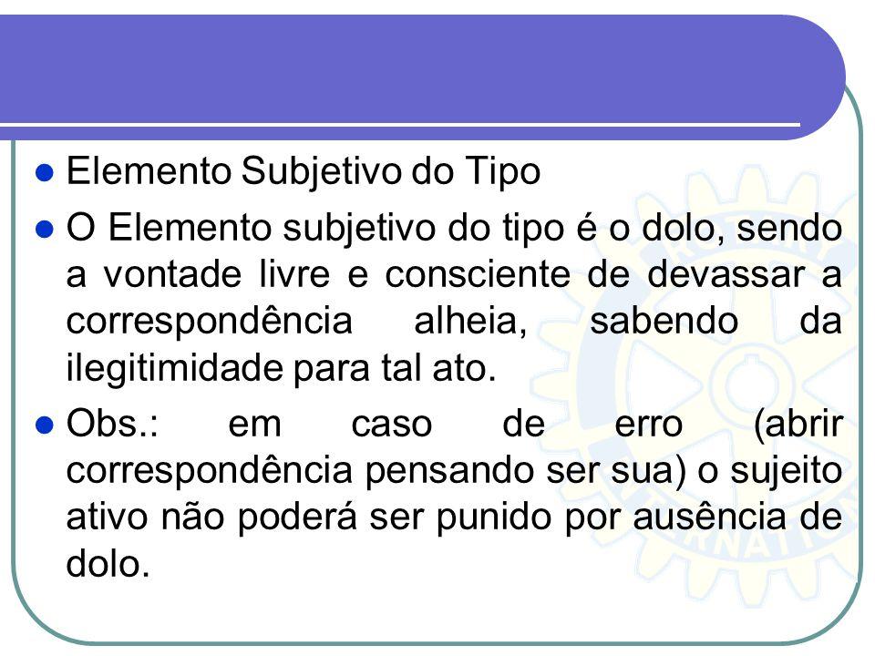 Elemento Subjetivo do Tipo O Elemento subjetivo do tipo é o dolo, sendo a vontade livre e consciente de devassar a correspondência alheia, sabendo da