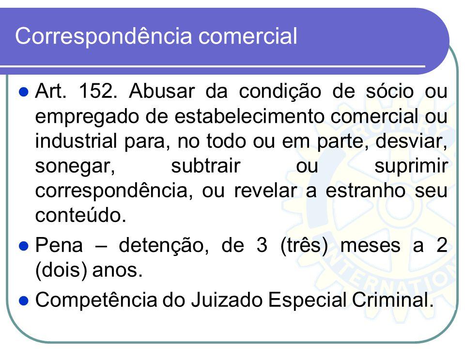 Correspondência comercial Art. 152. Abusar da condição de sócio ou empregado de estabelecimento comercial ou industrial para, no todo ou em parte, des