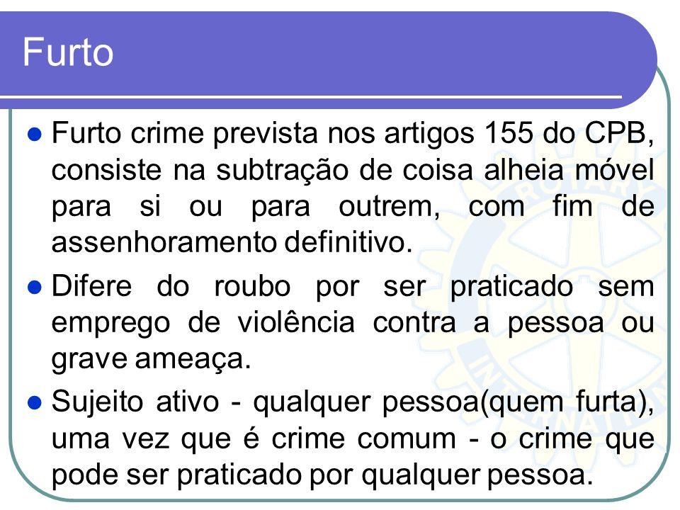 Furto Furto crime prevista nos artigos 155 do CPB, consiste na subtração de coisa alheia móvel para si ou para outrem, com fim de assenhoramento defin