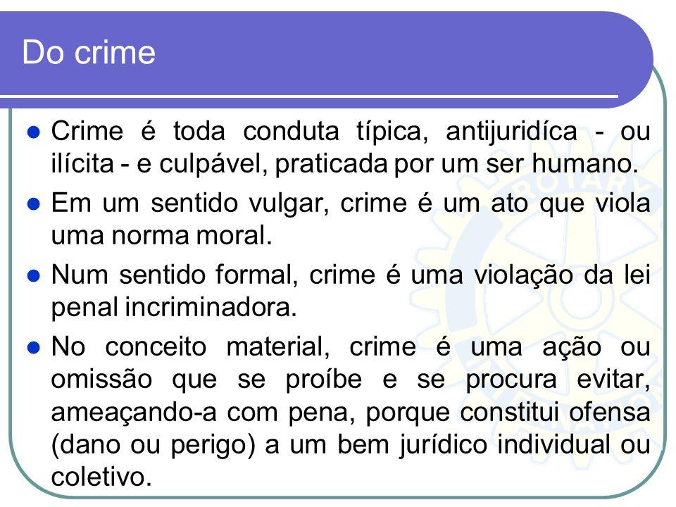 Do crime Crime é toda conduta típica, antijuridíca - ou ilícita - e culpável, praticada por um ser humano. Em um sentido vulgar, crime é um ato que vi