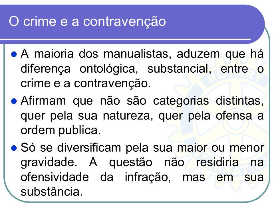 O crime e a contravenção A maioria dos manualistas, aduzem que há diferença ontológica, substancial, entre o crime e a contravenção. Afirmam que não s