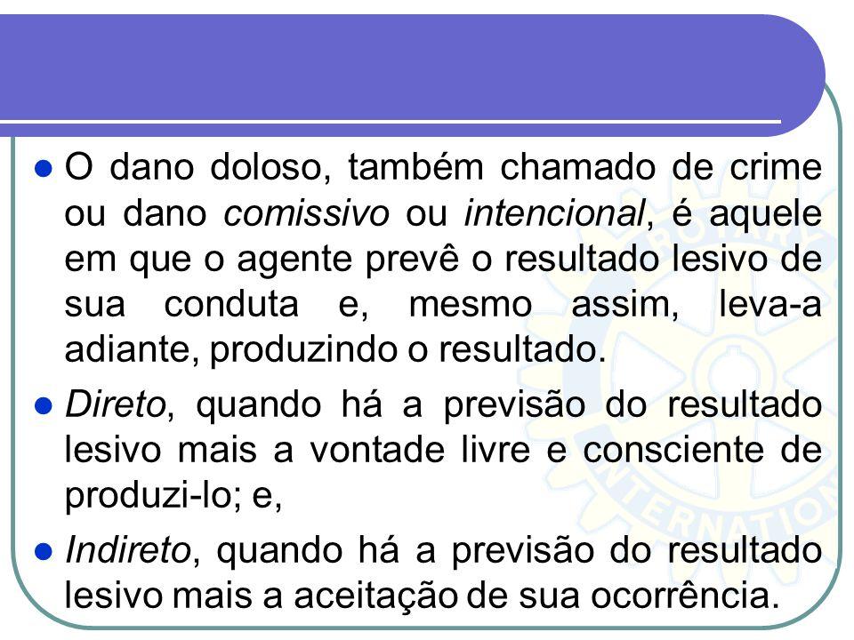 O dano doloso, também chamado de crime ou dano comissivo ou intencional, é aquele em que o agente prevê o resultado lesivo de sua conduta e, mesmo ass