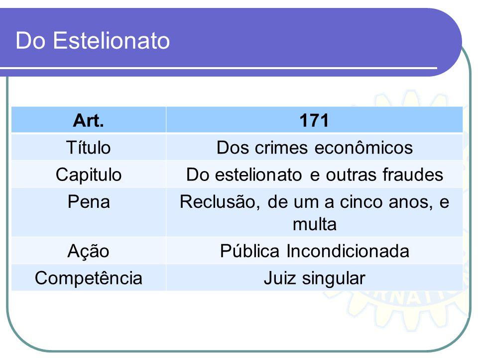 Do Estelionato Art.171 TítuloDos crimes econômicos CapituloDo estelionato e outras fraudes PenaReclusão, de um a cinco anos, e multa AçãoPública Incon