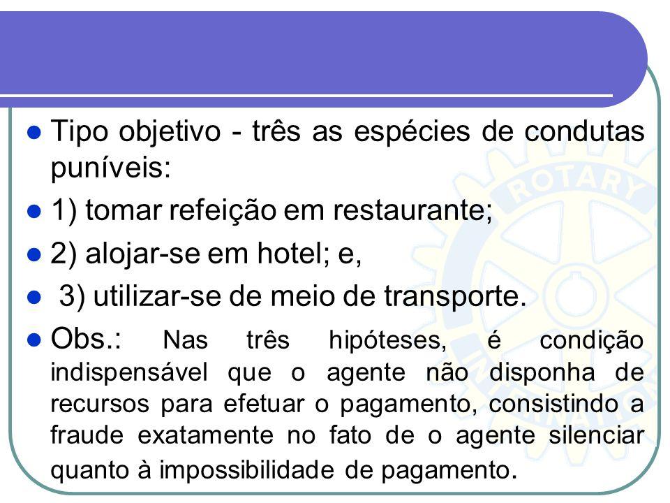 Tipo objetivo - três as espécies de condutas puníveis: 1) tomar refeição em restaurante; 2) alojar-se em hotel; e, 3) utilizar-se de meio de transport