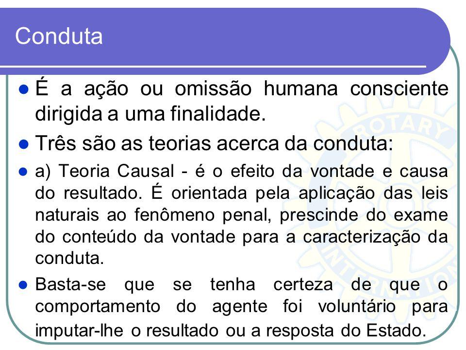 Conduta É a ação ou omissão humana consciente dirigida a uma finalidade. Três são as teorias acerca da conduta: a) Teoria Causal - é o efeito da vonta