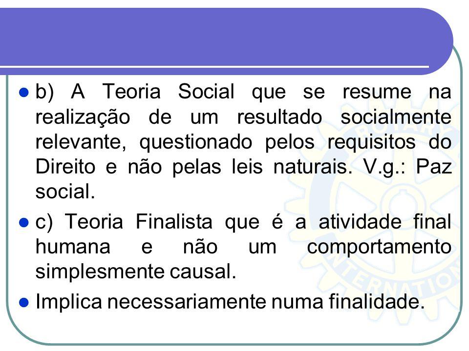 b) A Teoria Social que se resume na realização de um resultado socialmente relevante, questionado pelos requisitos do Direito e não pelas leis naturai