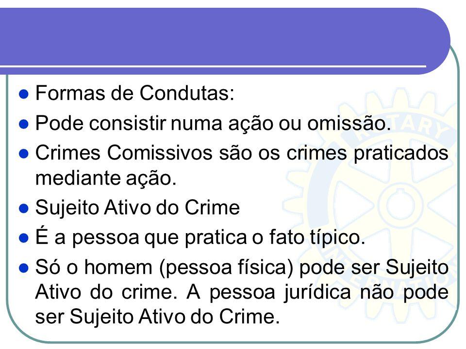 Formas de Condutas: Pode consistir numa ação ou omissão. Crimes Comissivos são os crimes praticados mediante ação. Sujeito Ativo do Crime É a pessoa q