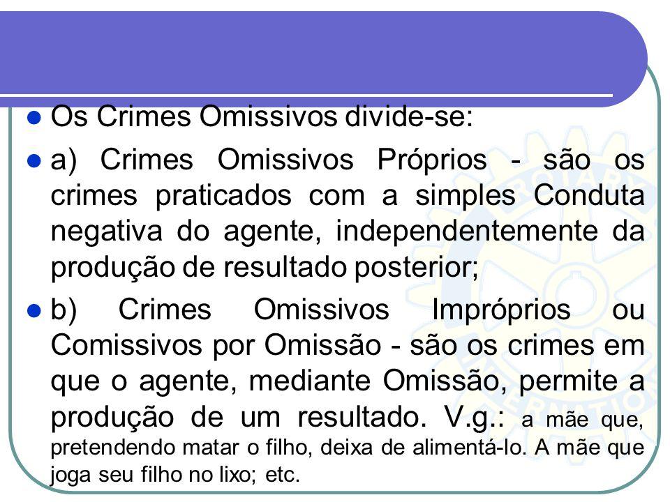 Os Crimes Omissivos divide-se: a) Crimes Omissivos Próprios - são os crimes praticados com a simples Conduta negativa do agente, independentemente da