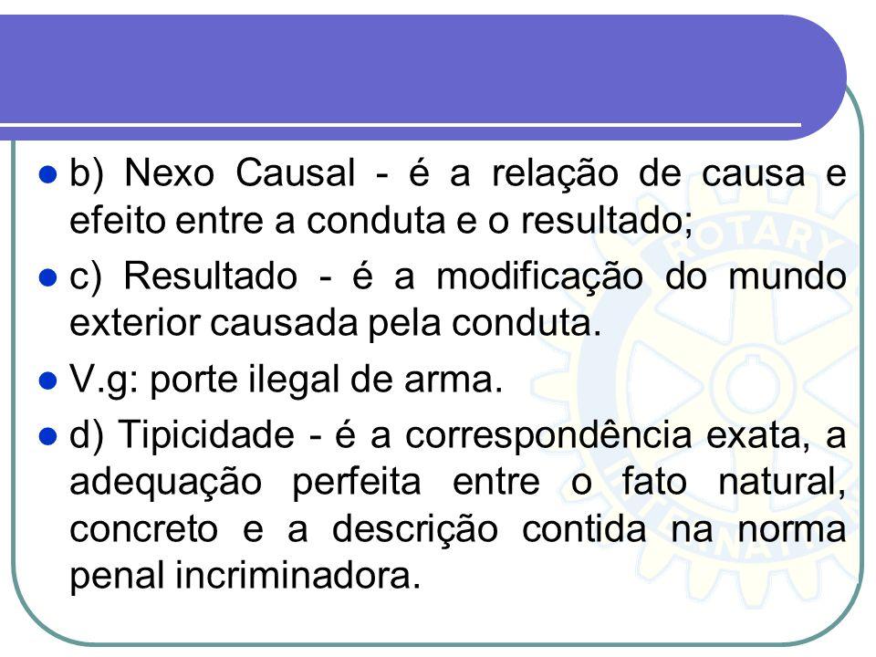 b) Nexo Causal - é a relação de causa e efeito entre a conduta e o resultado; c) Resultado - é a modificação do mundo exterior causada pela conduta. V
