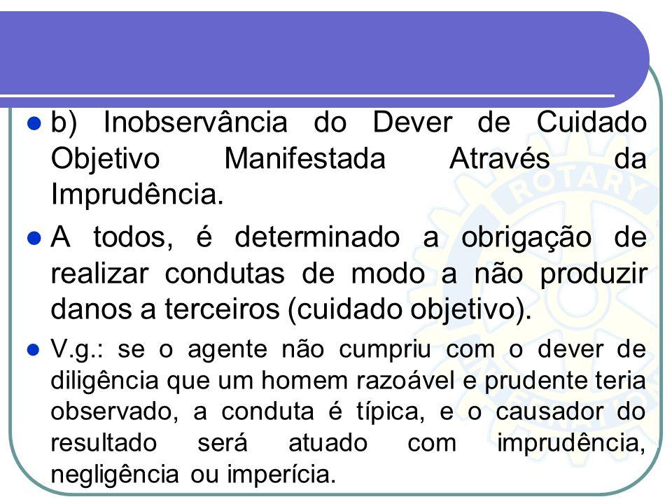 b) Inobservância do Dever de Cuidado Objetivo Manifestada Através da Imprudência. A todos, é determinado a obrigação de realizar condutas de modo a nã