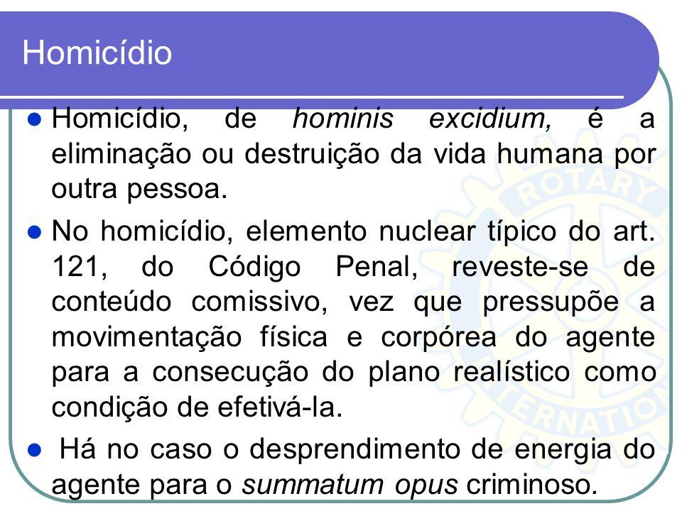 Homicídio Homicídio, de hominis excidium, é a eliminação ou destruição da vida humana por outra pessoa. No homicídio, elemento nuclear típico do art.