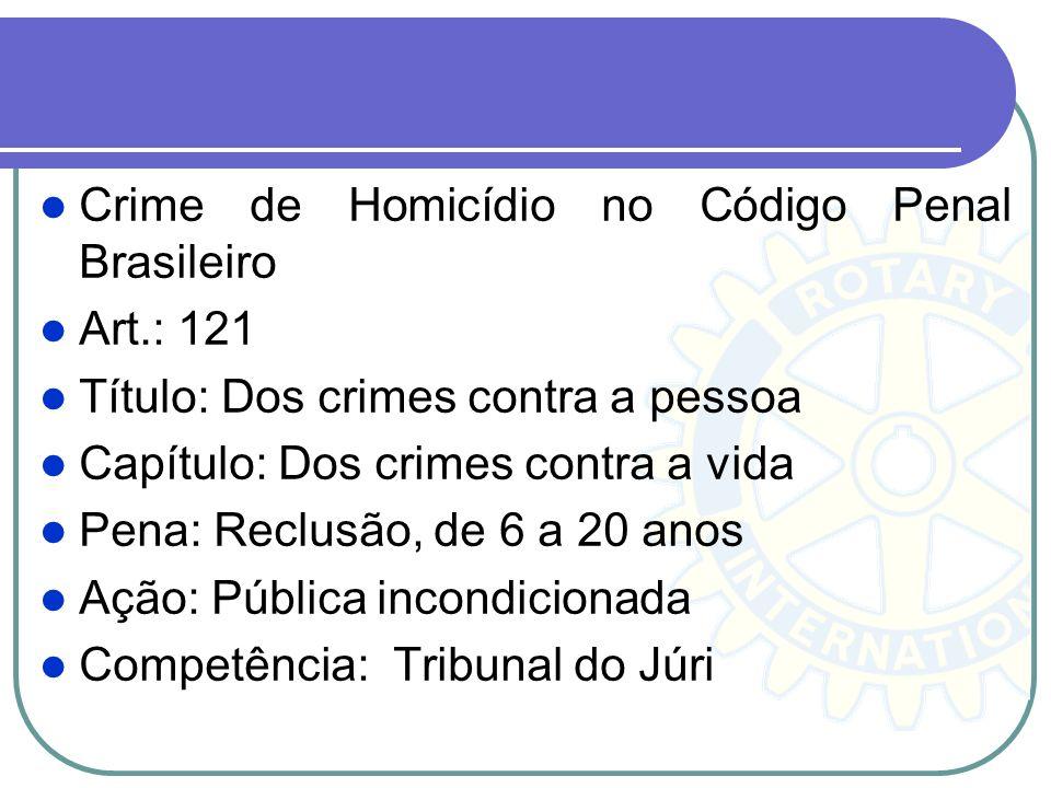 Crime de Homicídio no Código Penal Brasileiro Art.: 121 Título: Dos crimes contra a pessoa Capítulo: Dos crimes contra a vida Pena: Reclusão, de 6 a 2