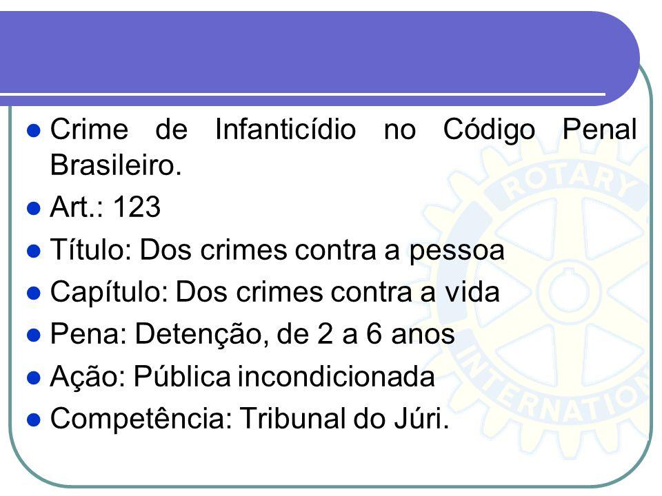 Crime de Infanticídio no Código Penal Brasileiro. Art.: 123 Título: Dos crimes contra a pessoa Capítulo: Dos crimes contra a vida Pena: Detenção, de 2