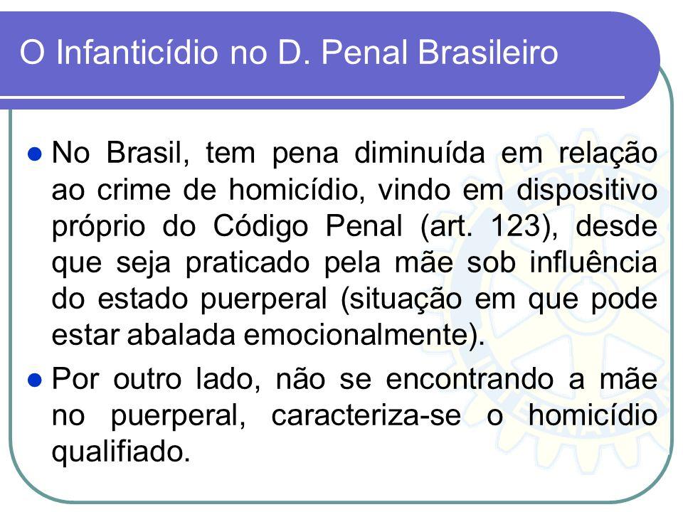 O Infanticídio no D. Penal Brasileiro No Brasil, tem pena diminuída em relação ao crime de homicídio, vindo em dispositivo próprio do Código Penal (ar
