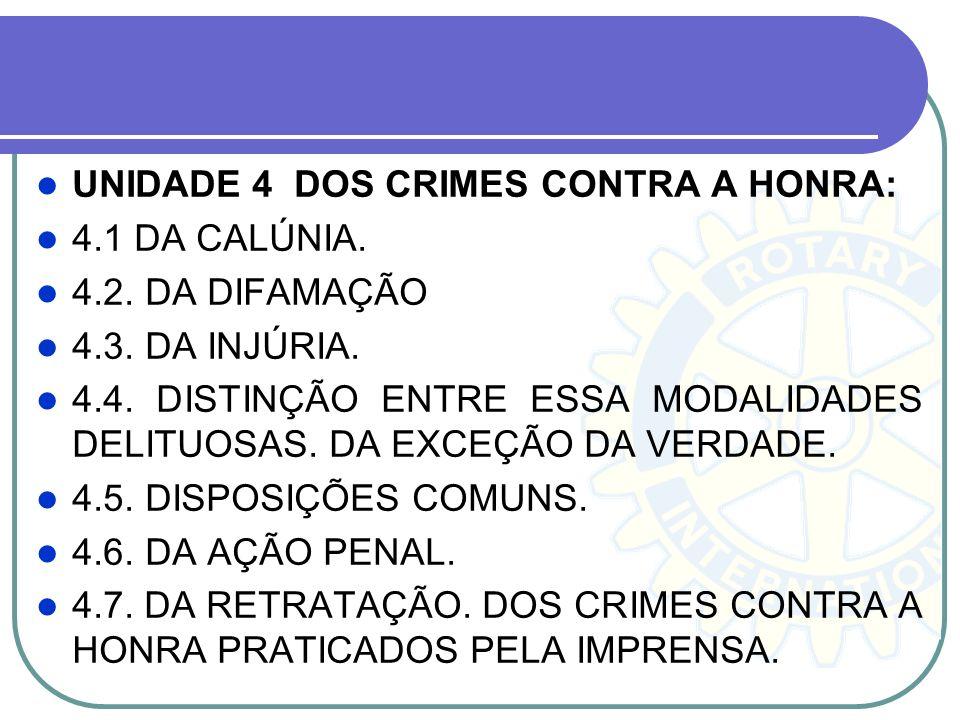 UNIDADE 4 DOS CRIMES CONTRA A HONRA: 4.1 DA CALÚNIA. 4.2. DA DIFAMAÇÃO 4.3. DA INJÚRIA. 4.4. DISTINÇÃO ENTRE ESSA MODALIDADES DELITUOSAS. DA EXCEÇÃO D