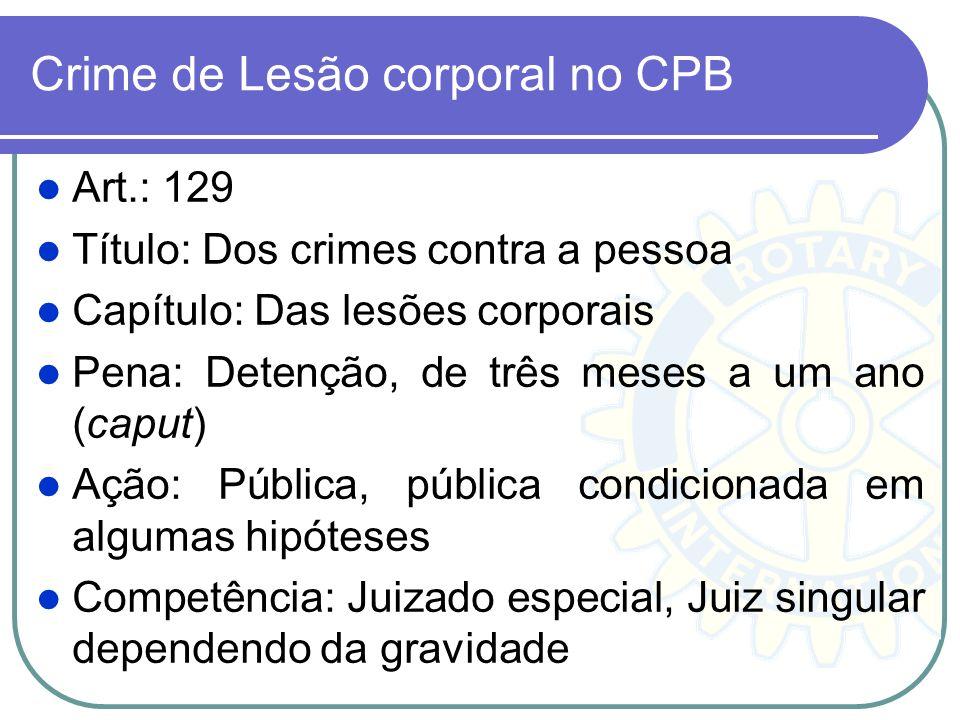 Crime de Lesão corporal no CPB Art.: 129 Título: Dos crimes contra a pessoa Capítulo: Das lesões corporais Pena: Detenção, de três meses a um ano (cap