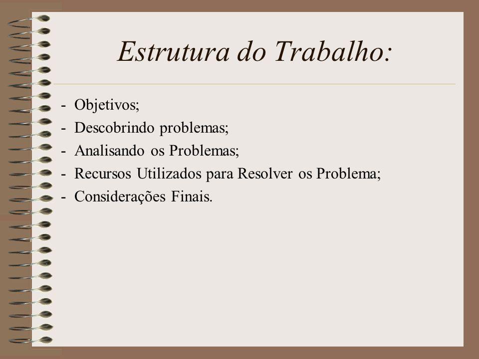 Estrutura do Trabalho: - Objetivos; - Descobrindo problemas; - Analisando os Problemas; - Recursos Utilizados para Resolver os Problema; - Consideraçõ
