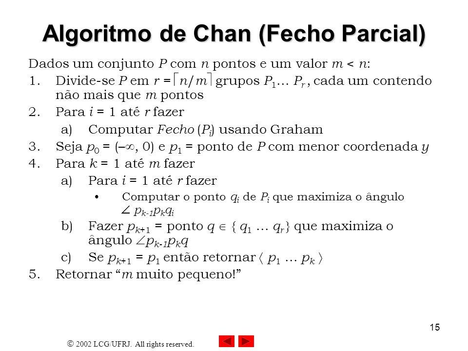 2002 LCG/UFRJ. All rights reserved. 15 Algoritmo de Chan (Fecho Parcial) Dados um conjunto P com n pontos e um valor m < n : 1.Divide-se P em r = n /