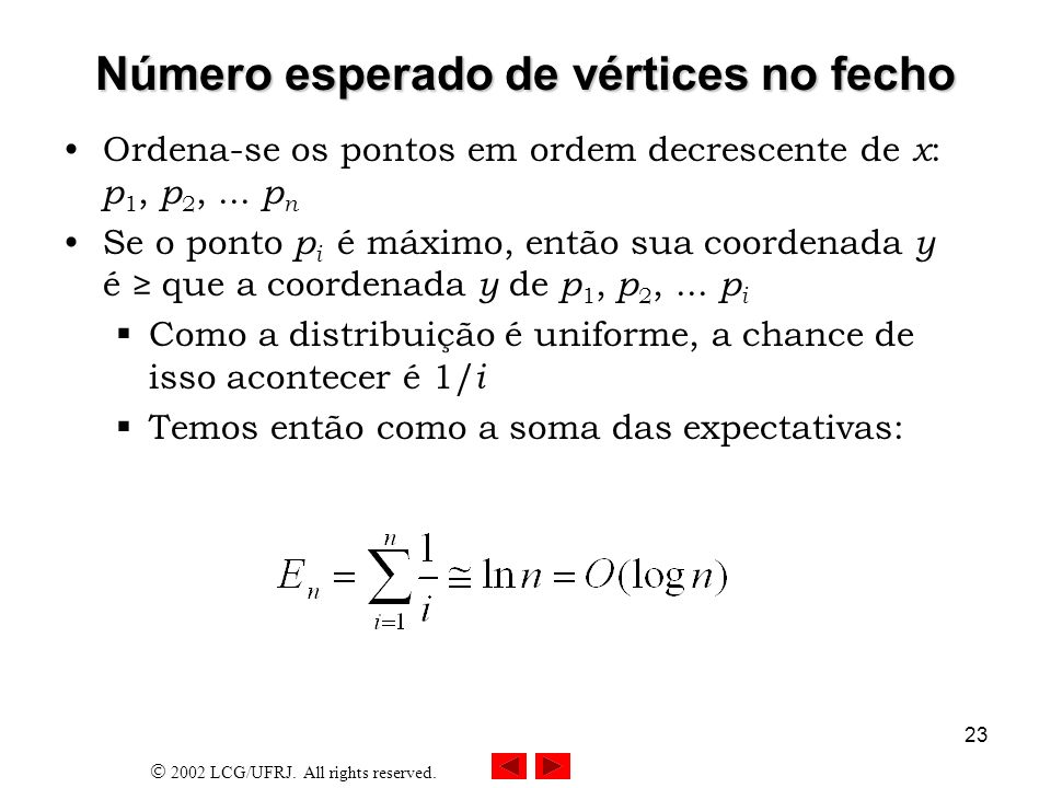 2002 LCG/UFRJ. All rights reserved. 23 Número esperado de vértices no fecho Ordena-se os pontos em ordem decrescente de x : p 1, p 2,... p n Se o pont
