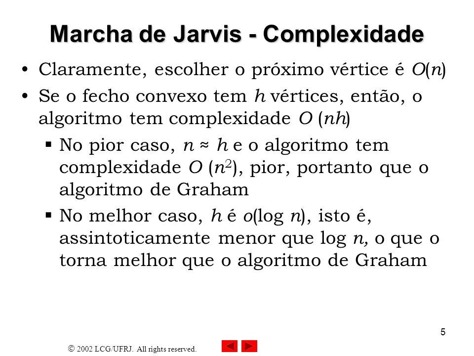 2002 LCG/UFRJ. All rights reserved. 5 Marcha de Jarvis - Complexidade Claramente, escolher o próximo vértice é O ( n ) Se o fecho convexo tem h vértic