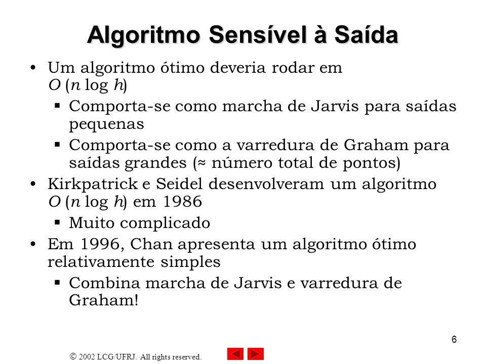 2002 LCG/UFRJ. All rights reserved. 6 Algoritmo Sensível à Saída Um algoritmo ótimo deveria rodar em O ( n log h ) Comporta-se como marcha de Jarvis p