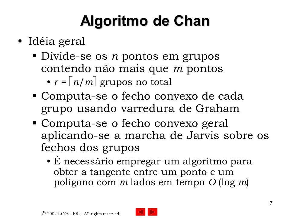 2002 LCG/UFRJ. All rights reserved. 7 Algoritmo de Chan Idéia geral Divide-se os n pontos em grupos contendo não mais que m pontos r = n / m grupos no