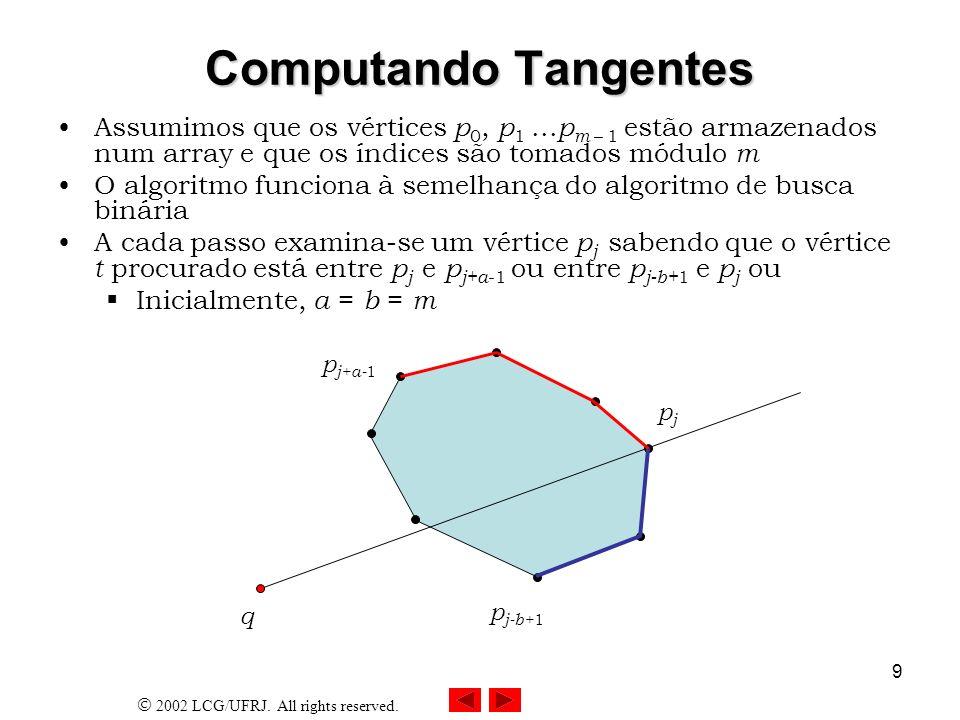 2002 LCG/UFRJ. All rights reserved. 9 Computando Tangentes Assumimos que os vértices p 0, p 1... p m – 1 estão armazenados num array e que os índices