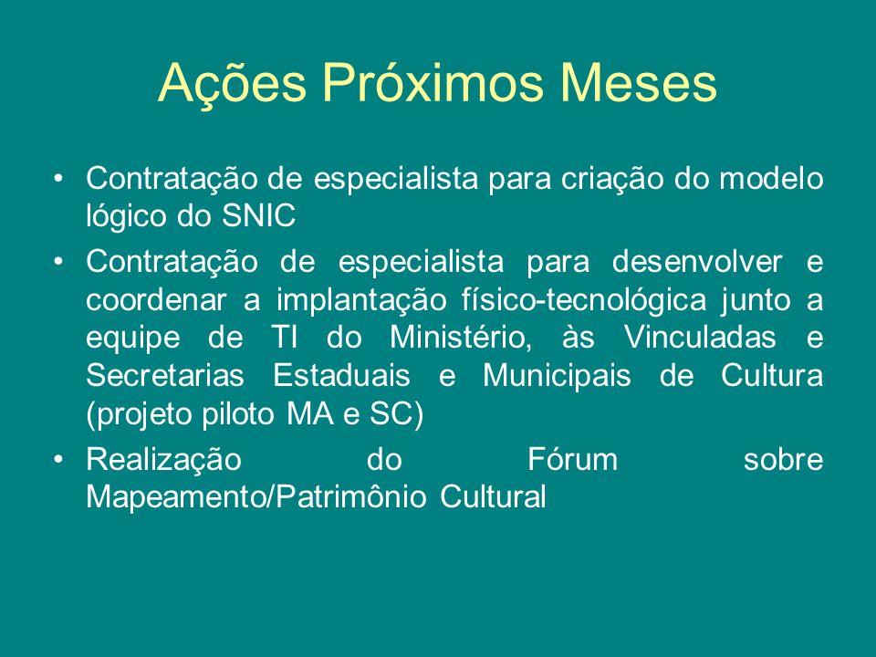 Ações Próximos Meses Contratação de especialista para criação do modelo lógico do SNIC Contratação de especialista para desenvolver e coordenar a impl