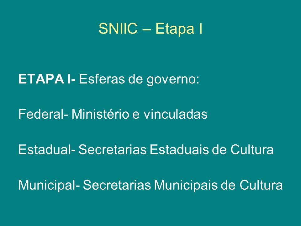 SNIIC – Etapa I ETAPA I- Esferas de governo: Federal- Ministério e vinculadas Estadual- Secretarias Estaduais de Cultura Municipal- Secretarias Munici