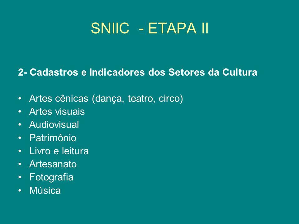 SNIIC - ETAPA II 2- Cadastros e Indicadores dos Setores da Cultura Artes cênicas (dança, teatro, circo) Artes visuais Audiovisual Patrimônio Livro e l