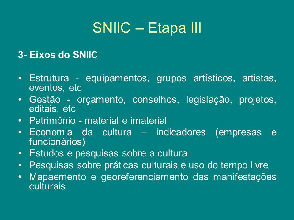 SNIIC – Etapa III 3- Eixos do SNIIC Estrutura - equipamentos, grupos artísticos, artistas, eventos, etc Gestão - orçamento, conselhos, legislação, pro