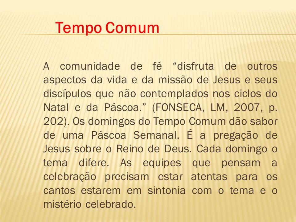 Tempo Comum A comunidade de fé disfruta de outros aspectos da vida e da missão de Jesus e seus discípulos que não contemplados nos ciclos do Natal e d