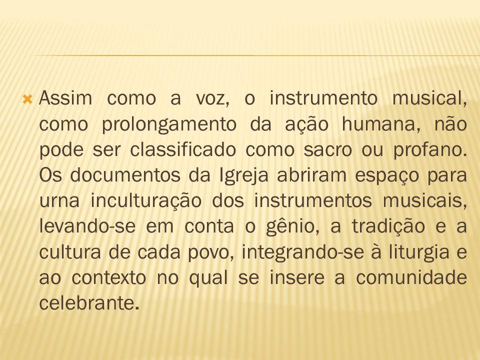 Assim como a voz, o instrumento musical, como prolongamento da ação humana, não pode ser classificado como sacro ou profano. Os documentos da Igreja a