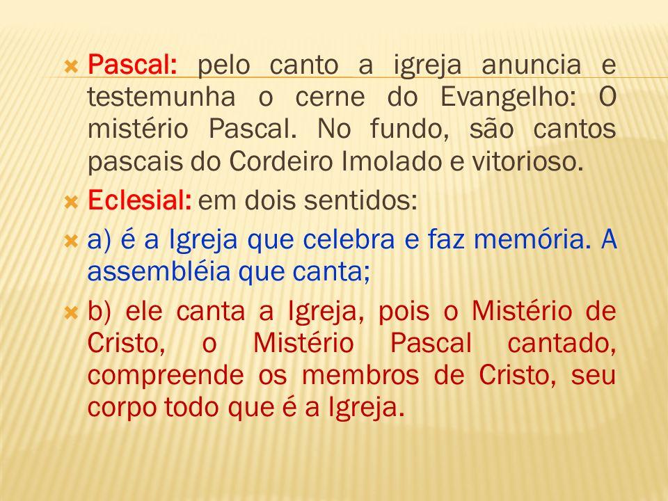 Pascal: pelo canto a igreja anuncia e testemunha o cerne do Evangelho: O mistério Pascal. No fundo, são cantos pascais do Cordeiro Imolado e vitorioso