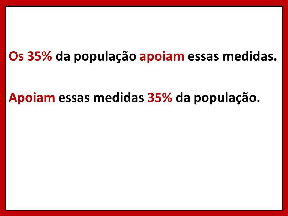 Os 35% da população apoiam essas medidas. Apoiam essas medidas 35% da população.