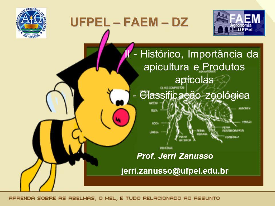 UFPEL – FAEM – DZ II - Histórico, Importância da apicultura e Produtos apícolas - Classificação zoológica Prof. Jerri Zanusso jerri.zanusso@ufpel.edu.
