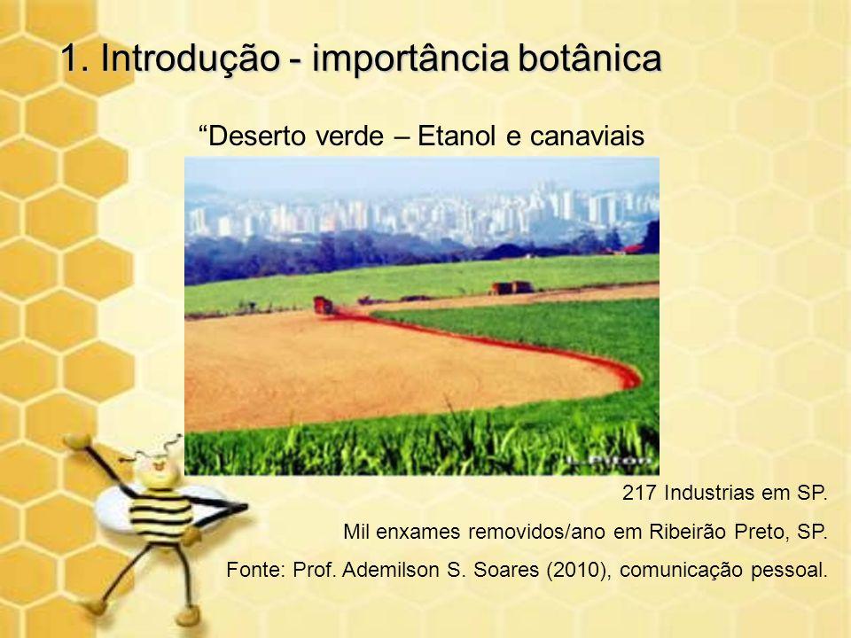 1. Introdução - importância botânica Deserto verde – Etanol e canaviais 217 Industrias em SP. Mil enxames removidos/ano em Ribeirão Preto, SP. Fonte:
