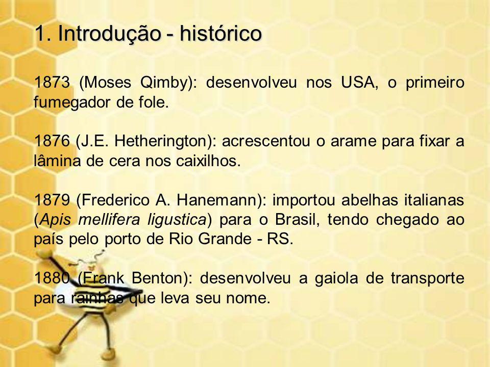 1. Introdução - histórico 1873 (Moses Qimby): desenvolveu nos USA, o primeiro fumegador de fole. 1876 (J.E. Hetherington): acrescentou o arame para fi