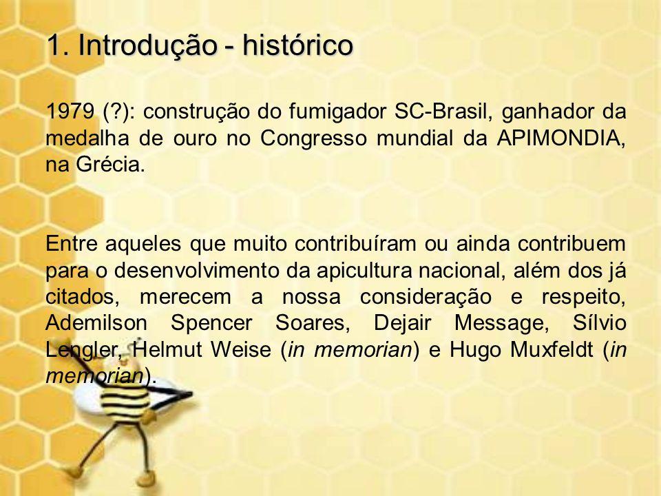 1. Introdução - histórico 1979 (?): construção do fumigador SC-Brasil, ganhador da medalha de ouro no Congresso mundial da APIMONDIA, na Grécia. Entre