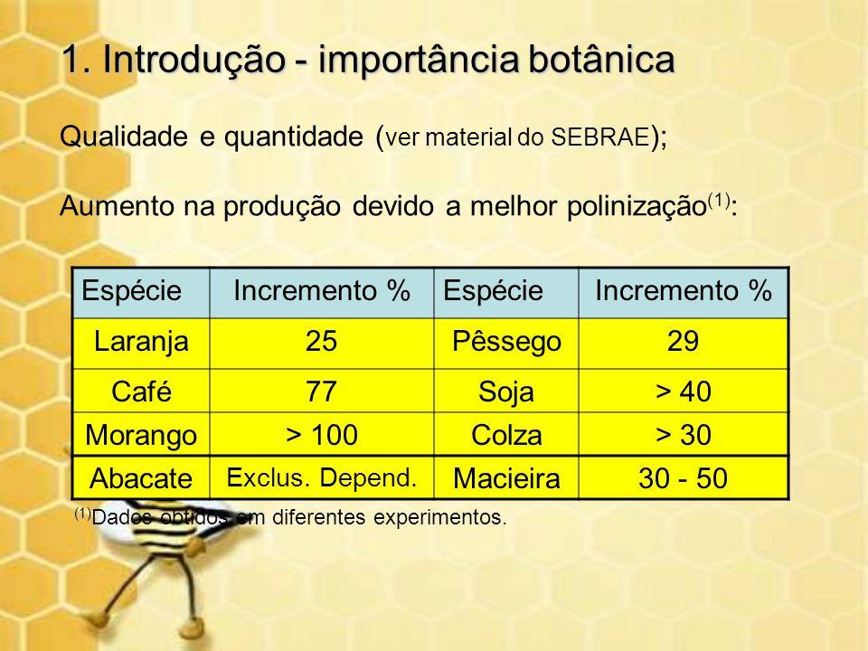 1. Introdução - importância botânica Qualidade e quantidade ( ver material do SEBRAE ); Aumento na produção devido a melhor polinização (1) : EspécieI