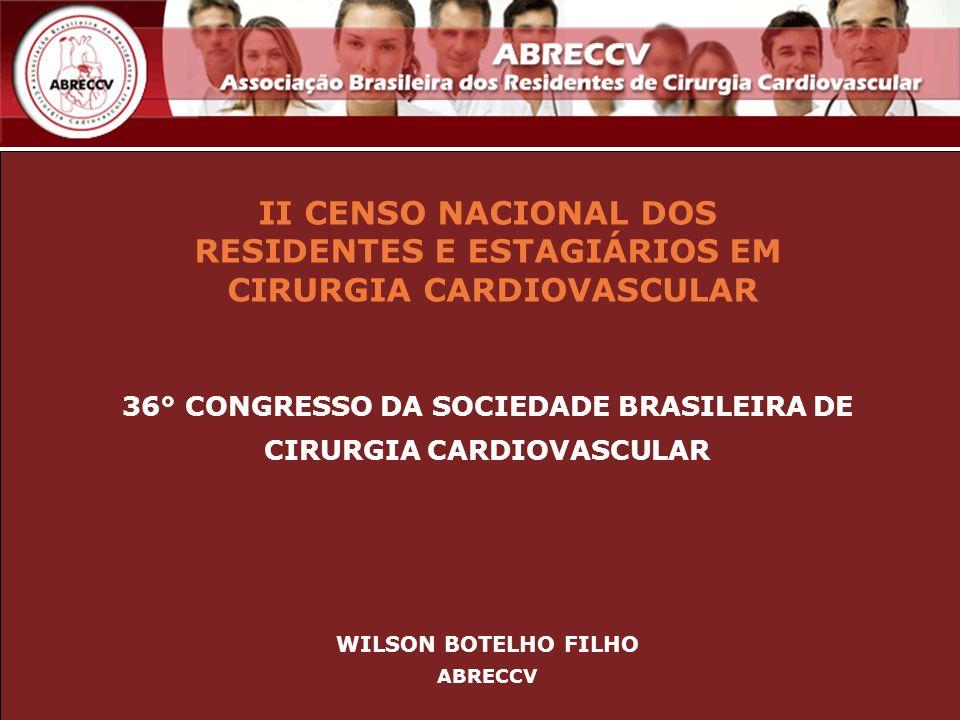 II CENSO NACIONAL DOS RESIDENTES E ESTAGIÁRIOS EM CIRURGIA CARDIOVASCULAR 36° CONGRESSO DA SOCIEDADE BRASILEIRA DE CIRURGIA CARDIOVASCULAR WILSON BOTE