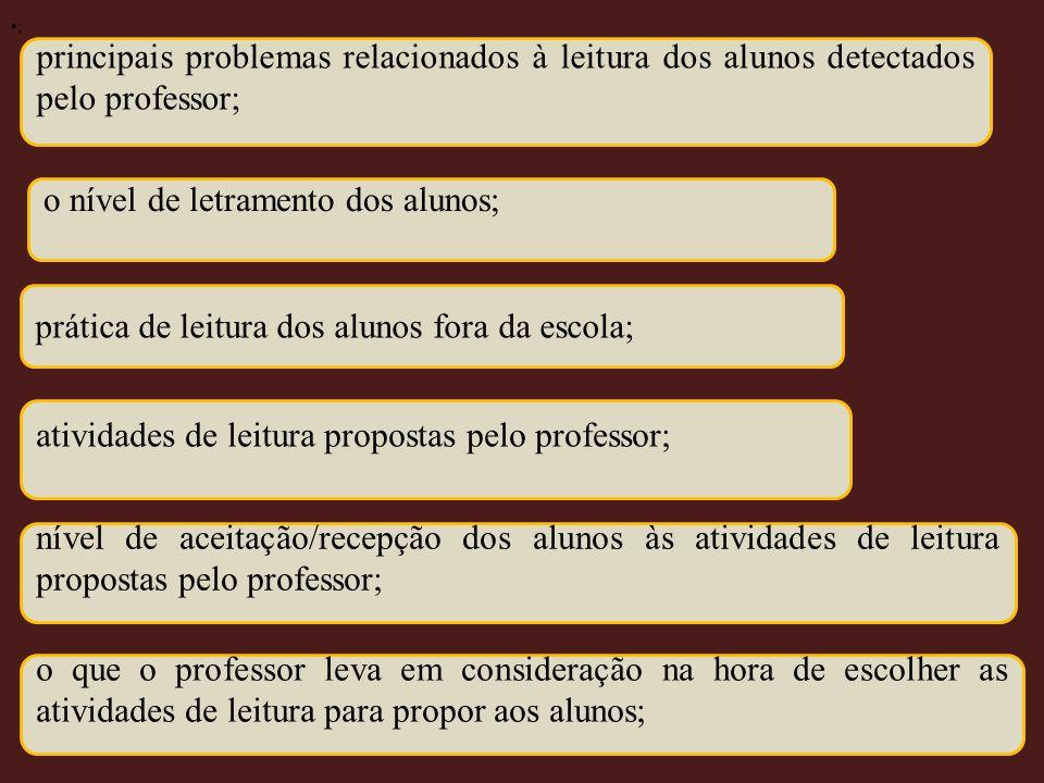 principais problemas relacionados à leitura dos alunos detectados pelo professor; o nível de letramento dos alunos; prática de leitura dos alunos fora